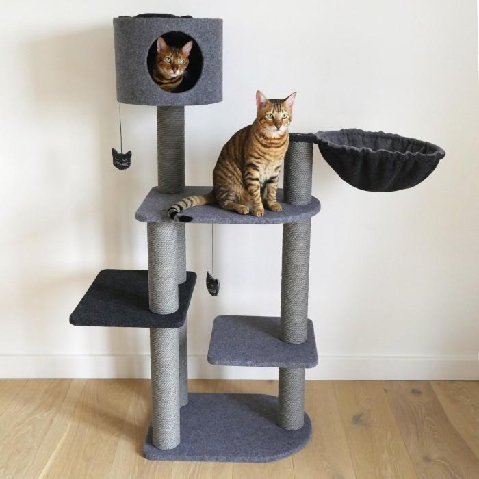 Arbre à chat Charcoal Felt Cat 3Tower
