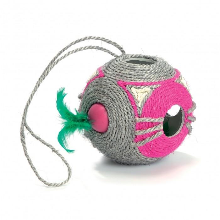 Balle à griffer en sisal avec boule à plumes