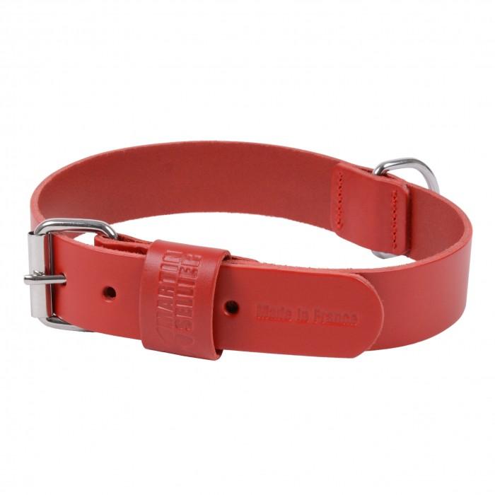 Collier Basic en cuir rouge