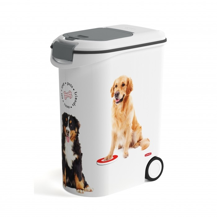 Conteneur à croquettes Love Dogs à roulettes