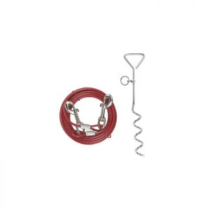 Piquet d'attache en acier avec câble